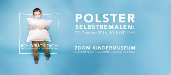 Trostpolster-Aktion der CS Caritas Socialis. Am 22. Oktober 2016 im ZOOM Kindermuseum von 10 bis 16 Uhr. Museumsplatz 1, Museumsquartier 1070 Wien